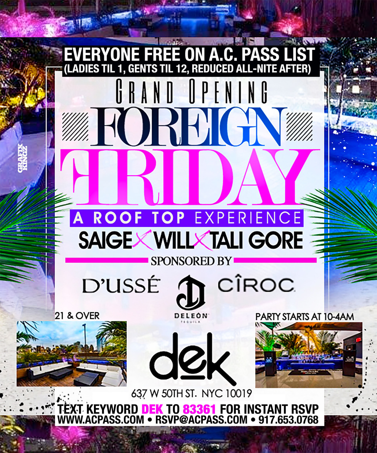 FOREIGN Fridays, Free on the A C  Pass List - New York Events