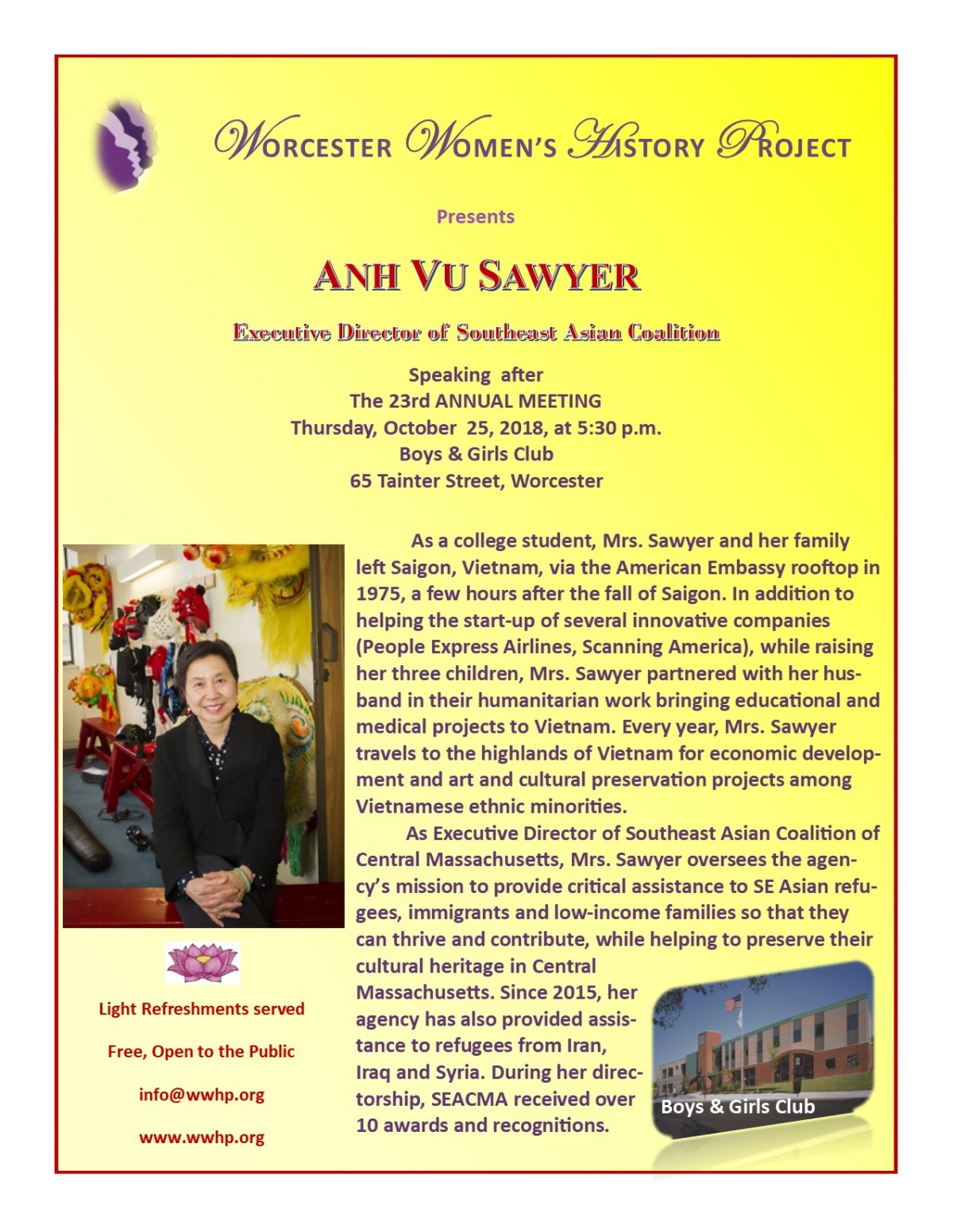 Worcester Women's History Project 23rd Annual Meeting & Program