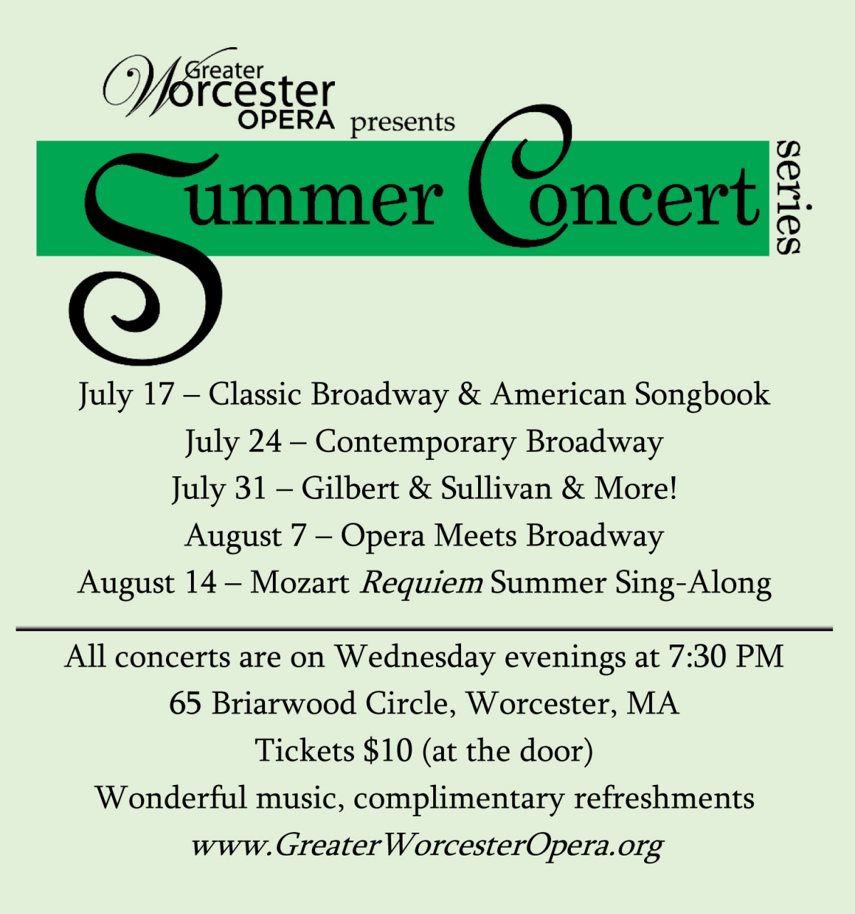 2e46498de Greater Worcester Opera Summer Concert Series – Classic Broadway and  American Songbook 7:30 PM-9:30 PM Briarwood Community Center, Loring  Auditorium, ...